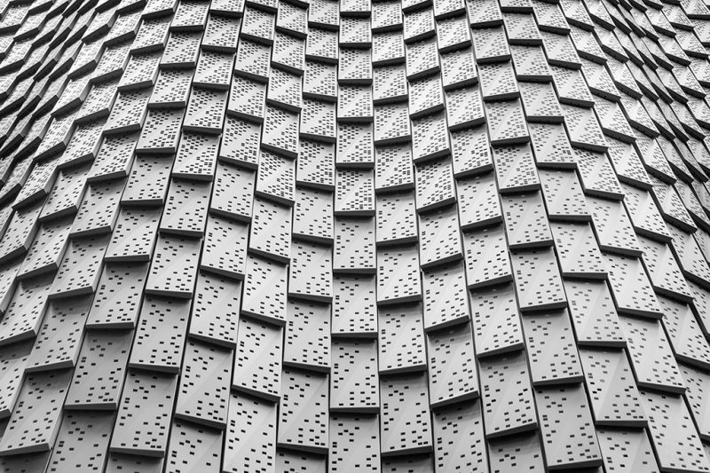 Black and white photograph of the cladding on 3 Broadgate, London