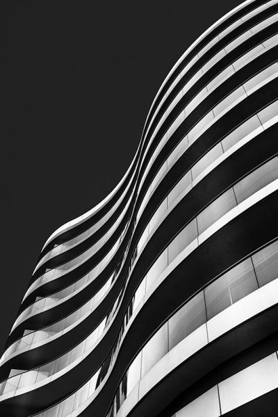 Black and white photo of a section of the Albion Riverside building, Battersea, London