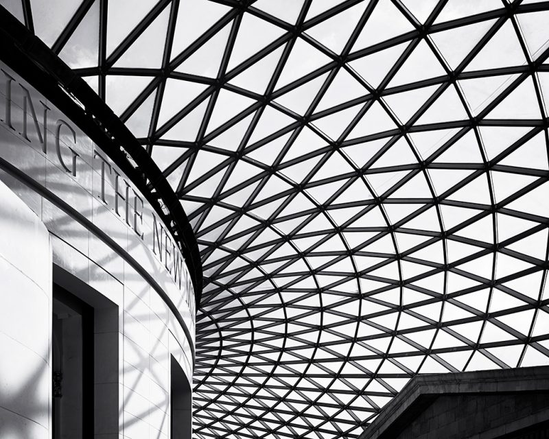 Black and white photo of part of the Great Court at the British Museum