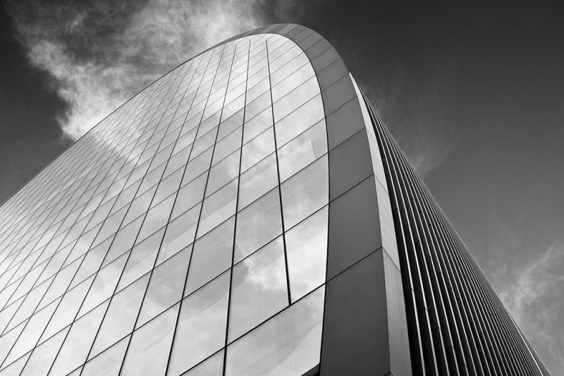 Black and white photo of 70 St Mary Axe (also known as the Can of Ham)