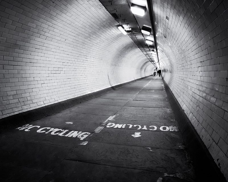 Black and white photo of Greenwich Foot Tunnel