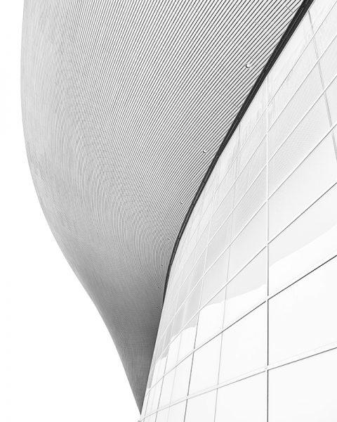 Black and white photo of the London Aquatics Centre