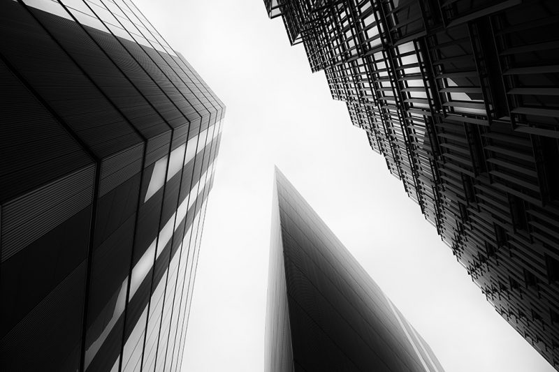 Black and white photo of the More London Development