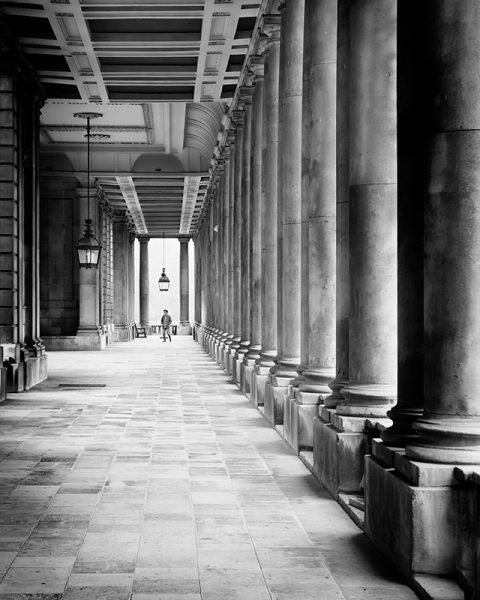 Black and white phot of part of the Old Royal Naval College, Greenwich