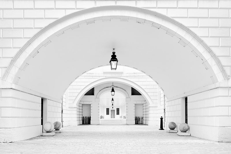 Black and white photo of the courtyard at the Queen's House, Greenwich