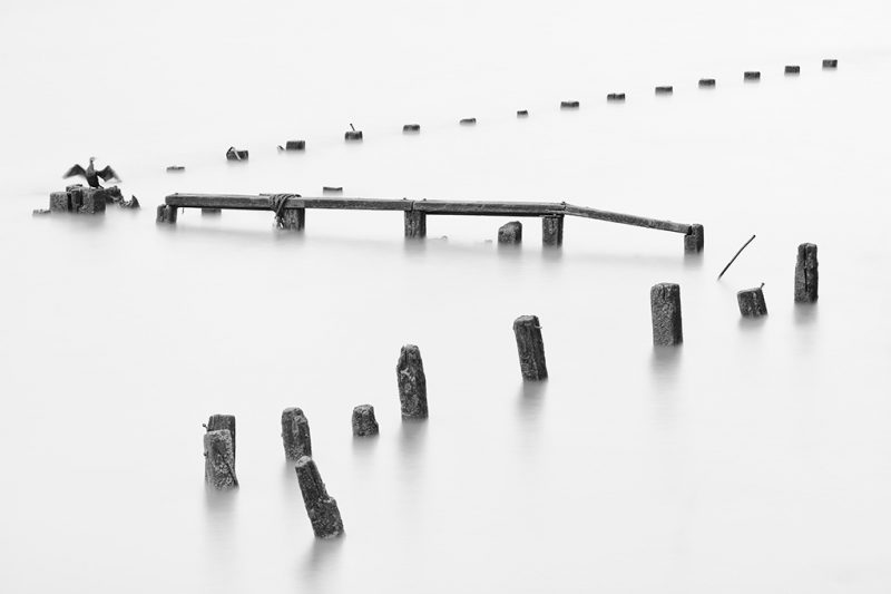 Long exposure photograph of abandoned jetty pilings on the Thames in central London