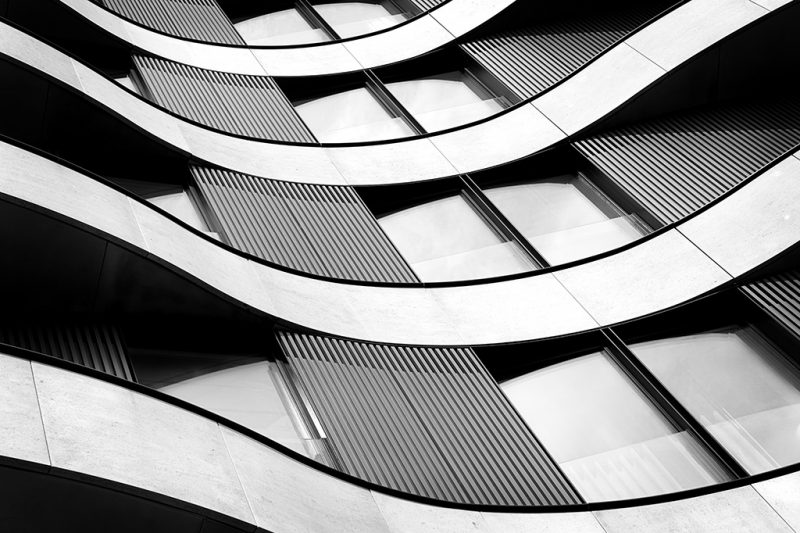 Black and white photo of a section of the Riverwalk apartment building in Pimlico, London
