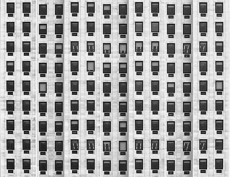 Black and white photograph of part of the Shell Centre, London