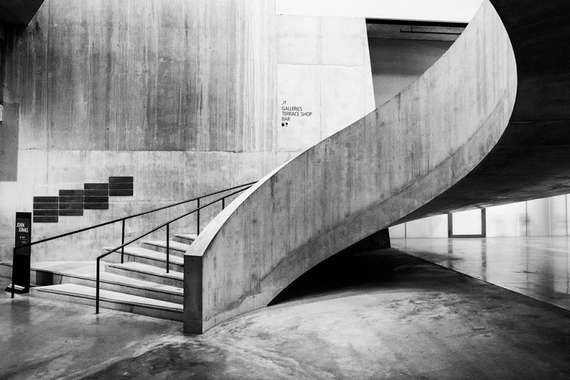 Black and white photograph of the famous Tate Modern staircase