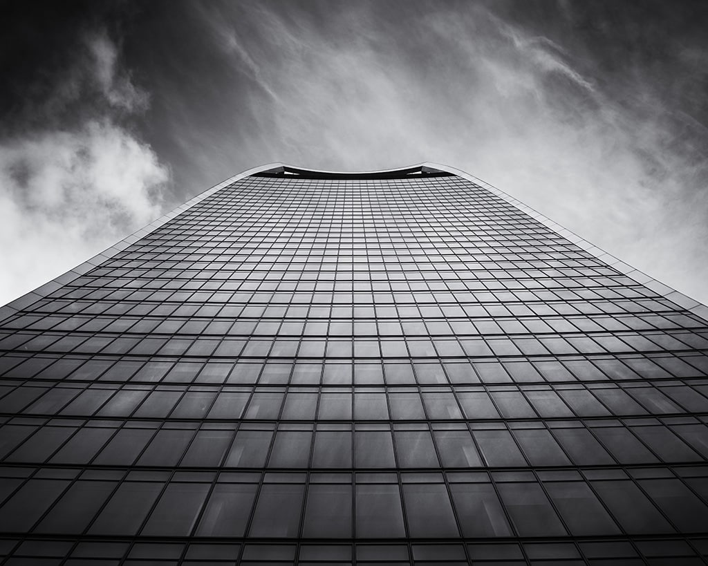 Black and white photograph of the Walkie Talkie (20 Fenchurch Street) in London