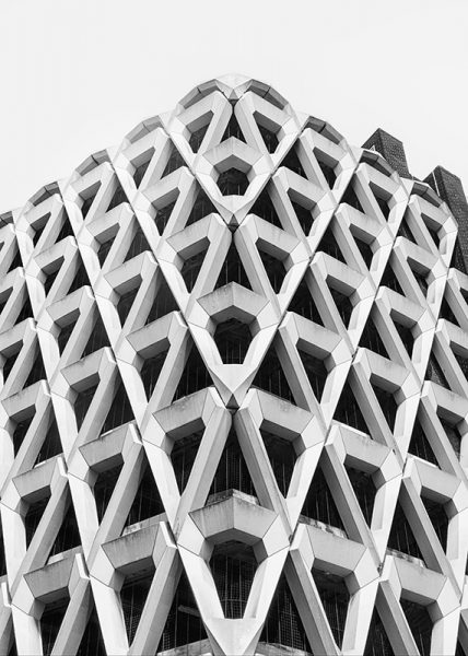 Black and white photograph of Welbeck Street Car Park. London