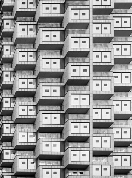 Black and white photo of One Park Drive, Wood Wharf
